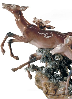 Lladro  Pursued Deer Porcelain Figurine