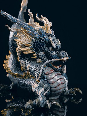 Lladro  Great Dragon - Golden Lustre and Blue Porcelain Figurine