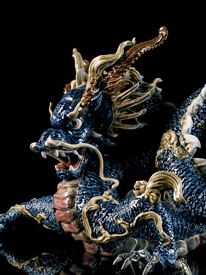 Lladro  Great Dragon - Blue Enamel Porcelain Figurine