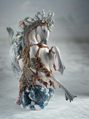 Lladro  Arion on A Seahorse Mixed Media Sculpture
