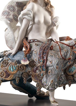Lladro  Bacchante on A Panther Mixed Media Sculpture