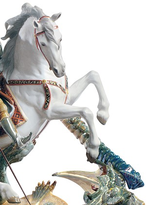 Lladro  Saint George and The Dragon Porcelain Figurine