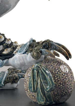 Lladro Guardian Lion - BlueMixed Media Sculpture