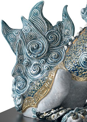 Lladro Guardian Lion - BluePorcelain Figurine