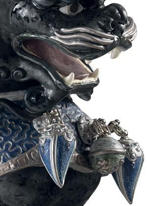 Lladro Guardian Lion - BlackMixed Media Sculpture