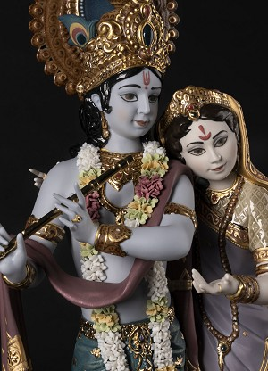 Lladro  Radha Krishna Mixed Media Sculpture