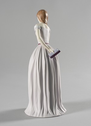 Lladro I'll Walk You to the Party Woman with DogPorcelain Figurine