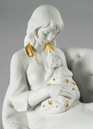 Lladro  Feels Like Heaven Mother White & Gold Porcelain Figurine