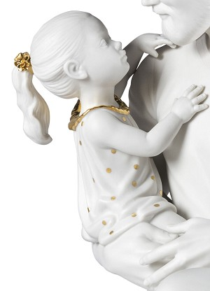 Lladro  In Daddy's Arms White & Gold Porcelain Figurine