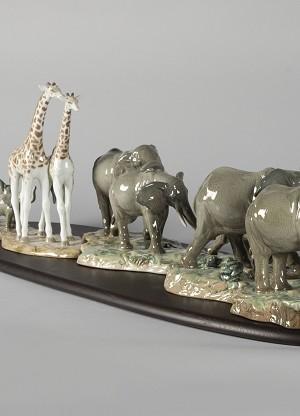 Lladro African Savannah Wild AnimalsMixed Media Sculpture