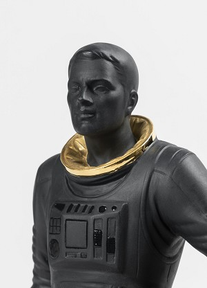 Lladro Walking on the Moon Figurine. Black & GoldPorcelain Figurine