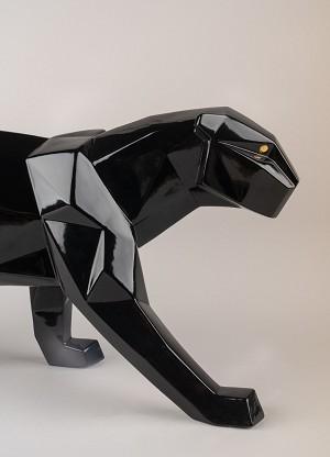 Lladro Panther Glazed Black