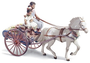 Lladro Black Legacy FLOWER WAGON