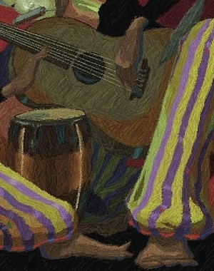 John Holyfield  ENTERTAINERS - TWO MAN BAND Giclee On Paper