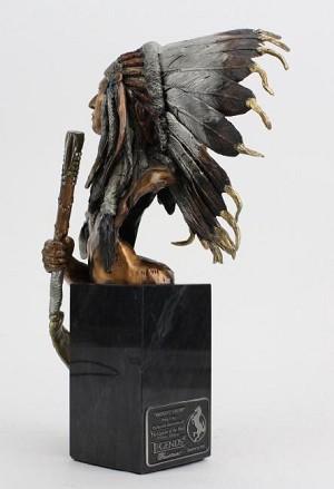 Christopher Pardell Eminent Crow - Chief Plenty CoupsBronze Sculpture