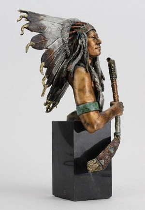 Christopher Pardell  Eminent Crow - Chief Plenty Coups Bronze Sculpture