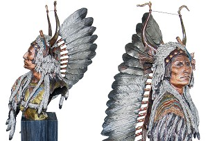 Christopher Pardell  Esteemed Warrior - Chief Mato-to'pe Mixed Media Sculpture