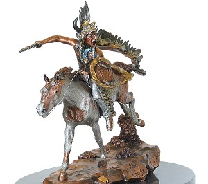 Christopher Pardell  The Final Charge - Chief Roman Nose  Mixed Media Sculpture