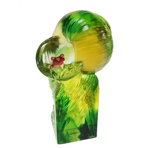 Liuli CrystalHandcraft Crystal Frog with Snail (Symbolizes Happiness) - Simple Pleasures - Amber/Green Clear