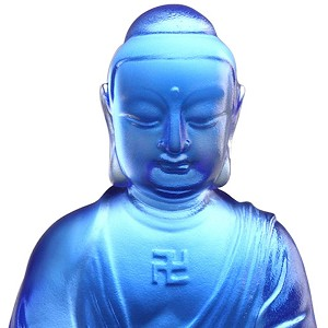 Liuli Crystal Blue Medicine Buddha - Buddha Figurine (Accompanied by Peace and Joy)