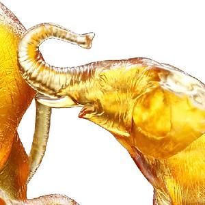 Liuli Crystal Elephant (Golden Hope) - Golden Life Power (Set of 3)