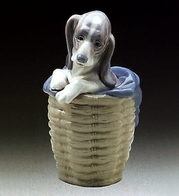Lladro Dog in Basket Porcelain Figurine