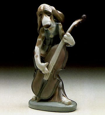 Lladro Dog Playing Bass Fiddle Porcelain Figurine