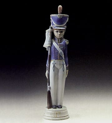 Lladro Soldier with Flag Porcelain Figurine