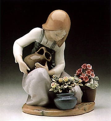 Lladro Watering the Flowers Porcelain Figurine