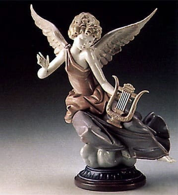 Lladro Carefree Angel with Lyre Porcelain Figurine