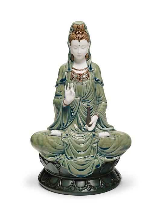 LladroKwan Yin Figurine GreenMixed Media Sculpture