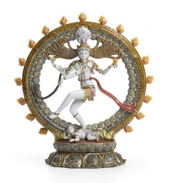 Lladro Shiva Nataraja Mixed Media Sculpture