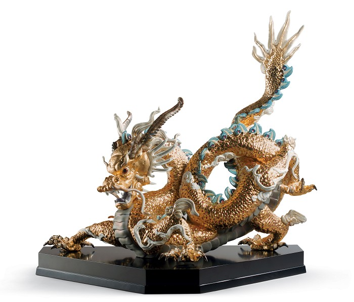 Lladro Great Dragon - Golden Lustre Porcelain Figurine