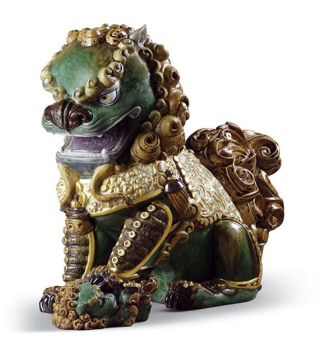 LladroOriental Lioness (Green)Porcelain Figurine