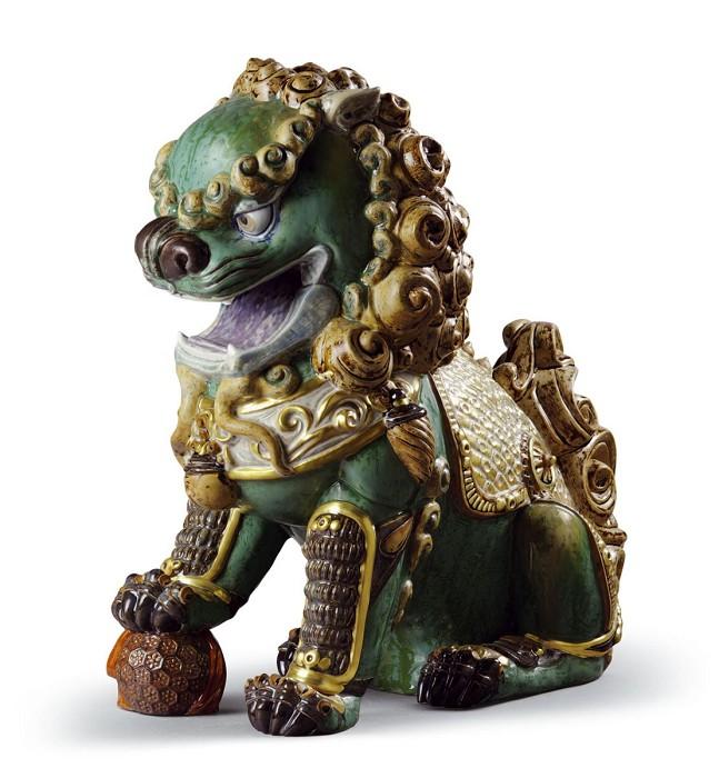 LladroOriental Lion (Green)Porcelain Figurine