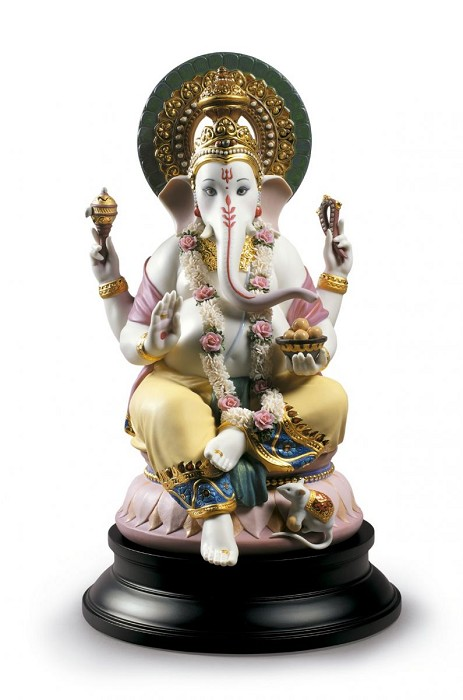 Lladro Lord Ganesha Mixed Media Sculpture