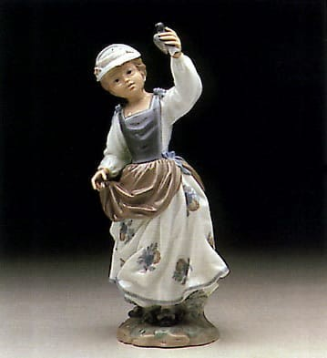 Lladro Girl w/Sparrow Porcelain Figurine