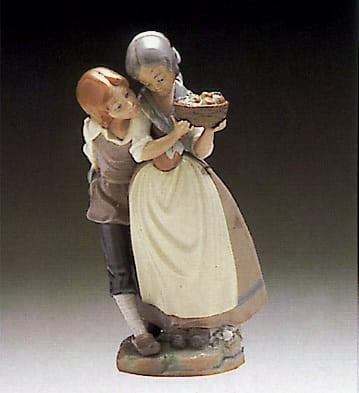 Lladro Children with Fruits Porcelain Figurine