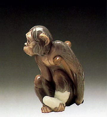 Lladro Painful Monkey Porcelain Figurine