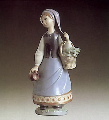 Lladro Woman with Scarf Porcelain Figurine