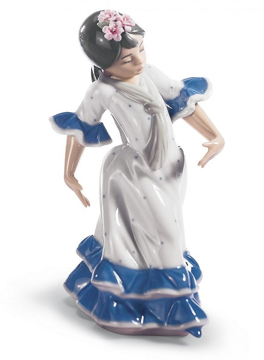 Lladro Juanita Flamenco Dancer Girl Blue Porcelain Figurine