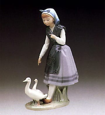 Lladro Aracely with Ducks Porcelain Figurine
