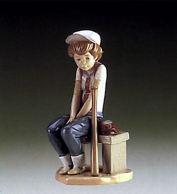 Lladro Little Leaguer on Bench Porcelain Figurine
