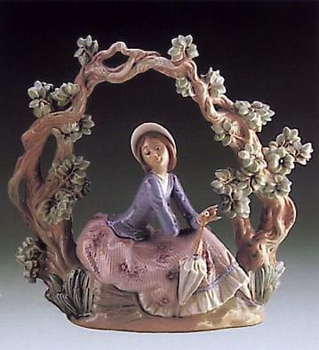 LladroGirl Sitting Under TrellisPorcelain Figurine