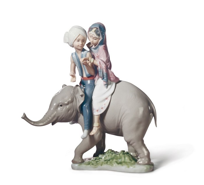 Lladro HINDU CHILDREN Porcelain Figurine