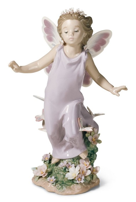 Lladro Butterfly Wings Fairy Mixed Media Sculpture