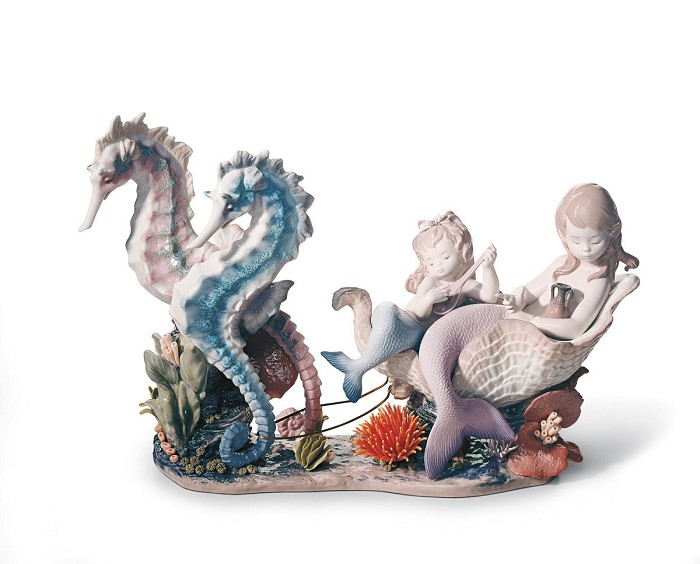 Lladro Underwater Journey Mermaid Porcelain Figurine