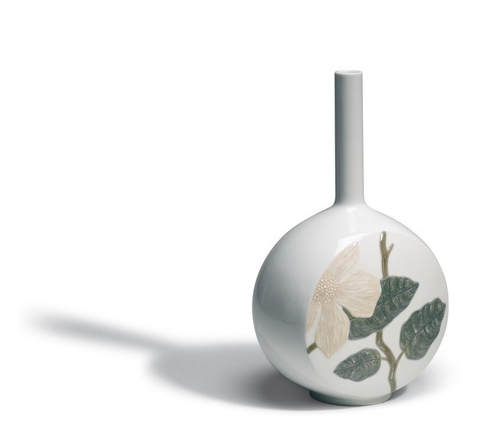 Lladro Canvas Vase Flower Twig Porcelain Figurine