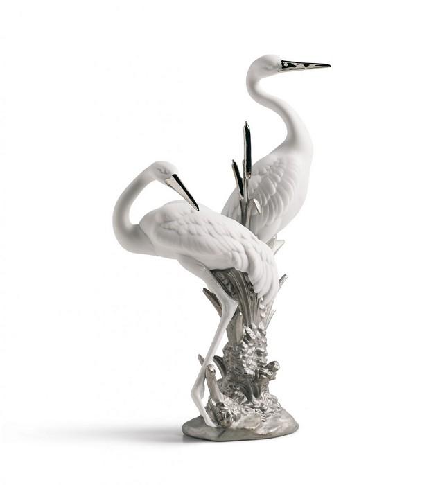 LladroCourting Cranes Silver Luster