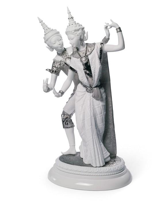 LladroThai Couple (Silver Lustre)Porcelain Figurine